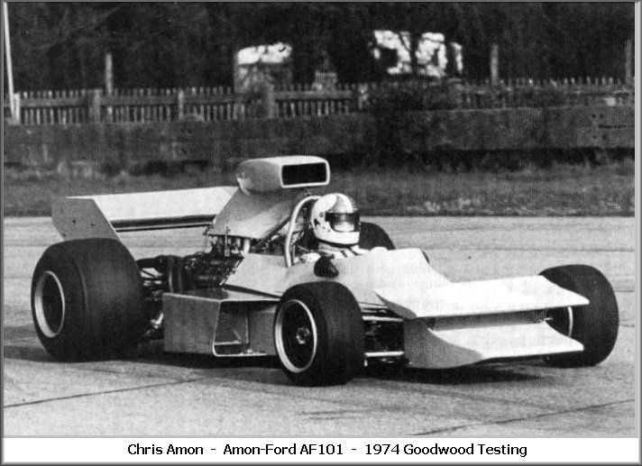 Amon AF101, Amon - testing Goodwood 1974.jpg